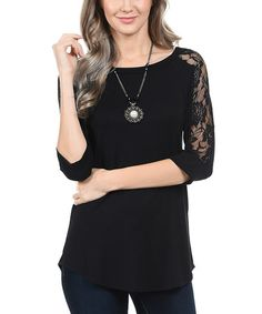 Love this Black Lace Raglan Tunic by Cool Melon on #zulily! #zulilyfinds