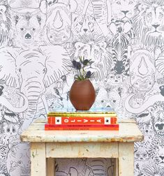 Sarah Watson Illustration partners with Chasing Paper to create Wild children's wallpaper Boys Room Wallpaper, Nursery Wallpaper, Paper Wallpaper, Office Wallpaper, Unique Wallpaper, Print Wallpaper, Animal Room, Baby Decor, Nursery Decor