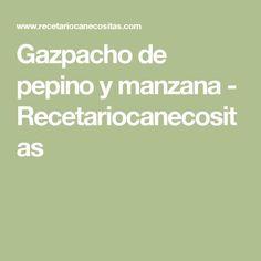 Gazpacho de pepino y manzana - Recetariocanecositas