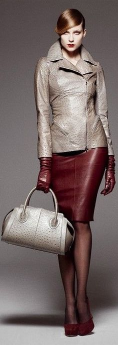 #27 Lyndon's office visit look. I like this for color palette. subtle gold and dark red together.