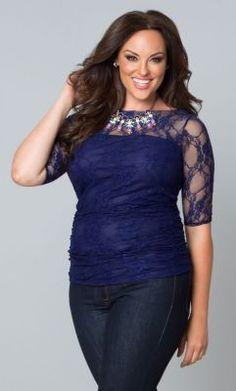 Women's Plus Size Top | Smitten Lace Top | Kiyonna