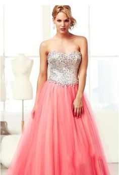 First Class Workmanship A Line Sweetheart Neckline Sleeveless Full Length Puffy Beaded Tulle Corset Back 2015 Prom Dress