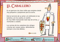 Knights - this is in Spanish: need it translated, someone. Medieval World, Medieval Knight, Castillo Feudal, Colegio Ideas, Ap Spanish, Spanish Language, Social Science, Room Themes, Middle Ages