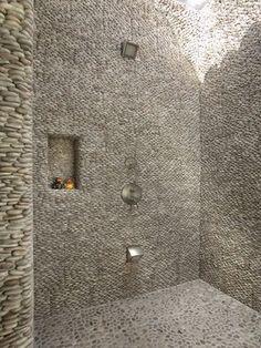 Standing Java Tan pebble tile shower with Java Tan pebbles on shower floor Pebble Tile Shower, Pebble Mosaic, Mosaic Glass, Outdoor Baths, Outdoor Tiles, Outdoor Showers, Outdoor Spaces, Wet Room Shower, Shower Floor
