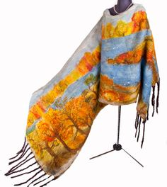 Autumn landscape Luxurious silk double-sided shawl with hand-painted nuno felted scarf