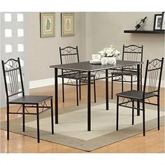 Coaster Home Furnishings 120573 5Piece Casual Dining Room Set BlackBlack -- Click image to review more details.Note:It is affiliate link to Amazon.