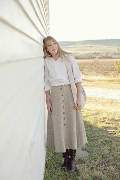 love this skirt! - beige w/ white shirt