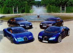 Clockwise from bottom right: Bugatti Veyron, 18/3 Chiron  concept car, EB 218 touring sedan concept and EB 118 concept
