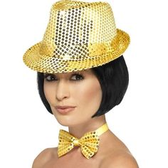 7295d030530 Sequin Trilby Hat Adult Gold