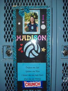If you laminate your posters before you put all the embellishments on you will be able to tape messages and candy to the volleyball locker poster and remove later without hurting your posters. Volleyball Locker Signs, Soccer Locker, Volleyball Posters, Sports Locker, Volleyball Quotes, Volleyball Gifts, Basketball Mom, Volleyball Team, Cheerleading
