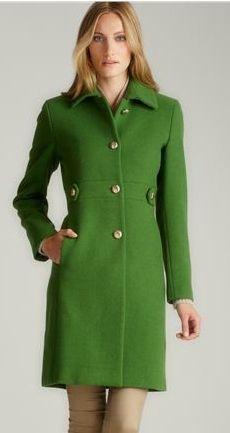 Calvin Klein Green Collared Wool Coat