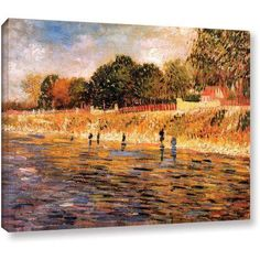 Vincent Van Gogh Banks Of The Seine Wrapped Canvas Art, Size: 14 x 18, Blue