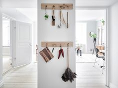 my scandinavian home: A Swedish space with a dreamy bedroom! Scandinavian Interior Design, Scandinavian Home, Interior Modern, Wooden Coat Hooks, Diy Canopy, Simple House, Creative Studio, Beautiful Interiors, Home Kitchens