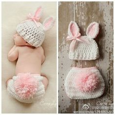 Cute rabbit baby hat and bottoms!