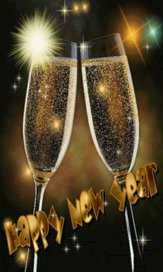 *•.¸¸.•*`*•.¸.ƸӜƷ`*•.¸ ♥ Happy New Year two champagne glasses with moving sparkly stars image.