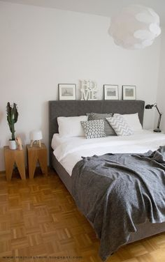 #bedroom #bed #boxspring #interior #interiordesign #schlafzimmer #grau #weiß