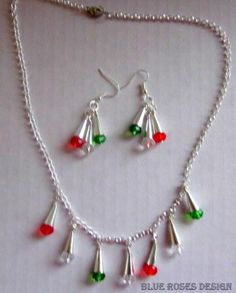 Silver Bells Holiday Necklace and Earring Set in Christmas Colors on Handmade Artists' Shop