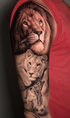 Lion tattoos hold different meanings. Similar to the best wolf tattoos, lion tattoos also symbolize kinship. Below, we are going to mention some lion and cub tattoo designs and ideas. Lioness And Cub Tattoo, Lion Cub Tattoo, Lion Hand Tattoo, Lion Tattoo Sleeves, Cubs Tattoo, Mens Lion Tattoo, Lion Tattoo Design, Tattoo Designs, Animal Sleeve Tattoo