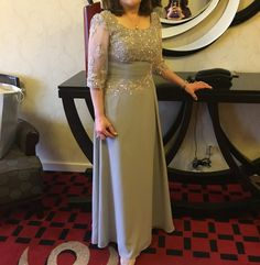 A-Line/Princess Scoop Neck Floor-Length Ruffle Beading Appliques Lace Sequins Zipper Up Sleeves 1/2 Sleeves No Steel Grey General Plus Chiffon Height:5.7ft Bust:34in Waist:25in Hips:36in US 4 / UK 8 / EU 34 Mother of the Bride Dress