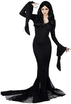 Shop Morticia Addams costume for all special events. Deluxe Addams Family Morticia Addams dress crafted from elastic spandex and mesh. Morticia costume for sale now and still in stock. Addams Family Morticia, Morticia Addams Dress, The Addams Family, Addams Family Costumes, Cute Couple Halloween Costumes, Halloween Kostüm, Adams Family, Family Halloween, Halloween History