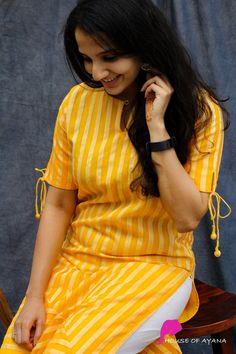 Daisy Lined Silk Kurti - House of Ayana Salwar Designs, Silk Kurti Designs, Simple Kurta Designs, Kurta Designs Women, Kurti Designs Party Wear, Fancy Blouse Designs, Stylish Dress Designs, Salwar Suit Neck Designs, Kurti Sleeves Design