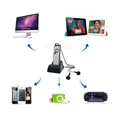 Lentenda Wireless FM RF Transmitter Earset Headphone + Receiver For PC TV HDTV DVD VCD