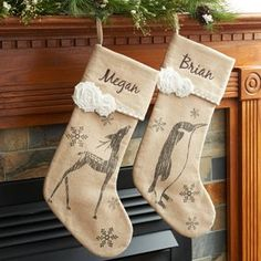 Add a hint of romance to the holidays with these vintage-inspired Linen Christmas Stockings. Accented with a sketch print, 2 rosettes and a ric rac trim, they can be personalized with the embroidered name of someone special on the cuff. Christmas Style, Christmas Fun, Christmas Wreaths, Xmas, Christmas Sewing, Burlap Stockings, Vintage Christmas Stockings, Silver Christmas Decorations, Personalized Stockings