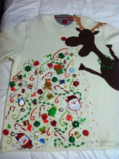 Ugly Christmas sweater epicness… just in case you go to that Ugly Christmas sweater party this year! Noel Christmas, All Things Christmas, Winter Christmas, Christmas Crafts, Funny Christmas, Reindeer Christmas, Christmas Outfits, Christmas Shirts, Christmas Jumpers