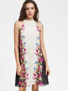 White Sleeveless Multicolor Floral Print Keyhole Swing Dress