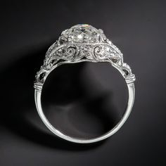 1.38 Carat Art Deco Platinum and Diamond Edwardian Engagement Ring - 10-1-6642 - Lang Antiques
