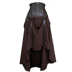 Long Brown Cotton Skirt with Genuine Leather Underbust