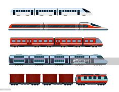 stock vector : Vector illustration set of modern passenger trains. Subway transport, high speed trains and underground train. Metro train in flat style. Zug Illustration, Autumn Illustration, Flat Design Illustration, Architecture Sketchbook, Architecture Collage, Train Vector, Vector Vector, Image Vector, Train Coloring Pages