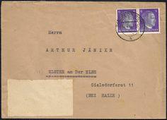 Inlandsbrief im Fernverkehr bis 20 g vom 4. April 1944 aus Torgelow (RPD Stettin - preußische Provinz Pommern) nach Elster an der Elbe. Der Brief wurde portorichtig in Mehrfachfrankatur mit 12 Reichspfennig (2 x Mi.-Nr. 785 - Ausgabe vom 1. August 1941) frankiert und mit dem Zweikreisstegstempel TORGELOW (POM) / b abgeschlagen.