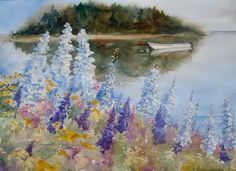 Summer in Maine Watercolor Original 11x15 Foxgloves Boat Small Painting Maine Coast Landscape Seascape Coastal Art  original art Island Art by KathyRennellForbes on Etsy