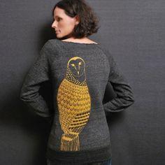 Gold Metallic Owl Charcoal Sweatshirt - Eco Fleece Pullover - Winter Fashion for Women on Etsy, $44.00