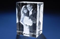 This is pretty cool, 3-D etching of photo's inside glass block. 3-D! Different shapes of blocks too- heart shape, diamond shape, flat rectangle, and more.