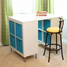 Make a counter height craft table using 2 shelves, a table top, and 8 legs.