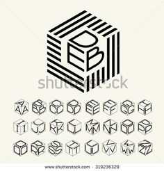 modern monogram cube hexagon of the strips and three letters inscribed. plus a set of letters to create the logo. Three Letter Logos, Three Logo, Logo Atelier, Graffiti Lettering, Hand Lettering, Bts Design Graphique, Badge Design, Monogram Logo, Monogram Letters