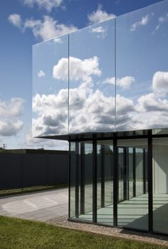 The upper story of West Limerick Children's Centre is clad in polished aluminum panels. By architecture studio SATA. sata.ie Image by: Kate Bowe O'Brien. More images: archdaily.com