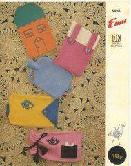 Emu 6498 novelty water bottle covers vintage knitting pattern