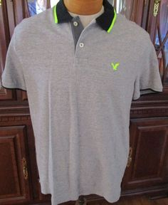 SOLD!! Mens Amercian Eagle Polo Casual Shirt Athletic Fit Gray Black Neon Green Large #AmericanEagleOutfitters #PoloRugby