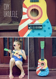 Summer Fun: DIY Ukulele for Kids by Handmade Charlotte- Brilliant Folk Art color! Projects For Kids, Diy For Kids, Craft Projects, Crafts For Kids, Ideias Diy, Crafty Kids, Summer Fun, Summer Parties, Tea Parties