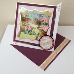 Made by Karen Garbett - This is a 7x7 twisted easel card using mirri card, adorable scorable card, wren topper and sentiment from the Birds of Britain kit. #cardmaking #papercraft