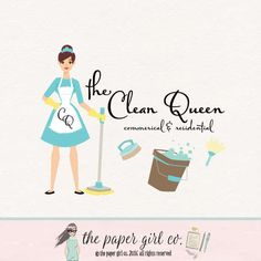 cleaning logo cleaning lady logo maid services by ThePaperGirlCo