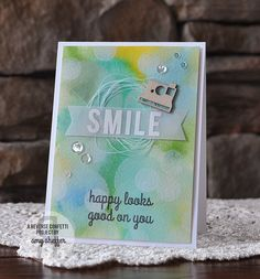 Card by Amy Sheffer. Reverse Confetti stamp set: You Make Me Smile. Friendship card. Encouragement card.