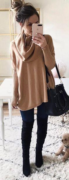 #winter #fashion / Camel Wrap Knit / Black Shoulder Bag / Navy Skinny Jeans / Black OTK Boots