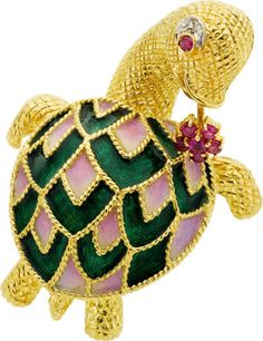 Diamond, Ruby, Enamel and Gold Turtle Brooch