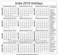 49 Best Holidays Calendar 2019 images