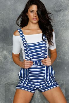 Breton Stripes Short Overalls - LIMITED (AU $99AUD) by BlackMilk Clothing