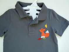 Boy's Polo with Fox, Toddler Boy's Polo Shirt, Baby Boy's Short Sleeve Polo with Embroidered Fox, Baby Boy's Shirt with Fox by SewFlurry on Etsy